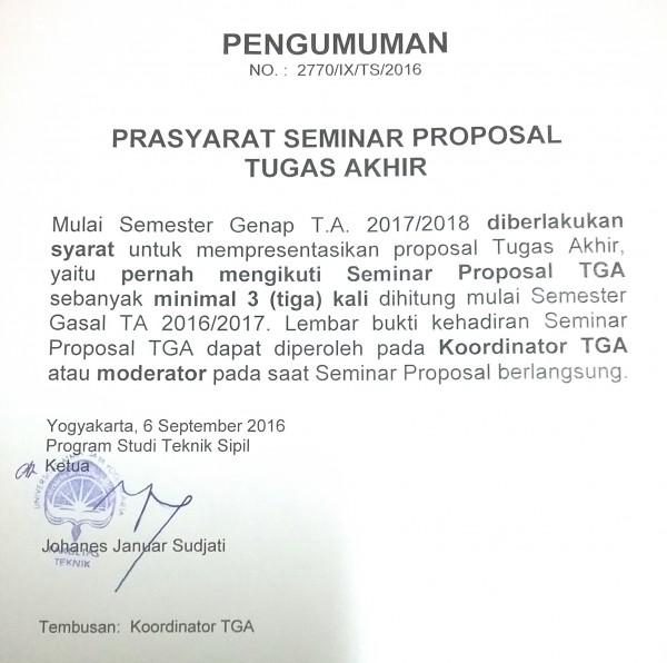 Prasyarat Seminar Proposal Tugas Akhir Prodi Teknik Sipil