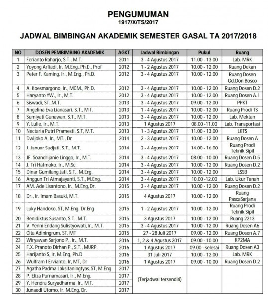Jadwal Bimbingan Akademik Semester Gasal 2017-2018